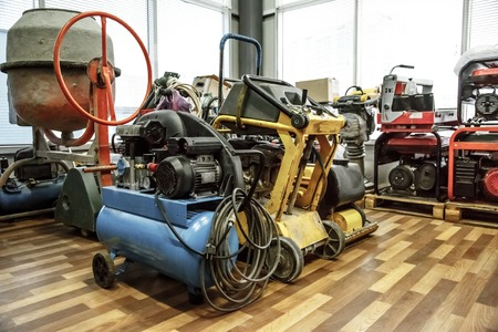 A range of machines in storage room Stock Photo