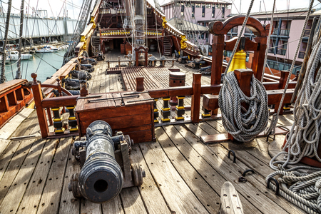 Wooden pirate ship for tourists in Genova port