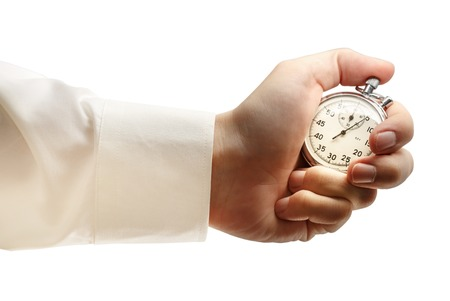 chrome man: Stopwatch in male hand on white background Stock Photo