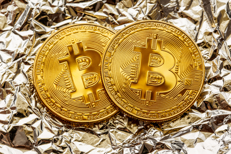 Bitcoin coins in closeup Фото со стока