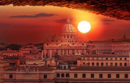 Rome city Vatican skyline view Stok Fotoğraf - 120526847