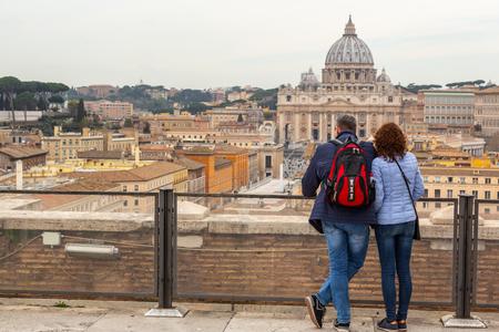 People admire beautiful vatican view