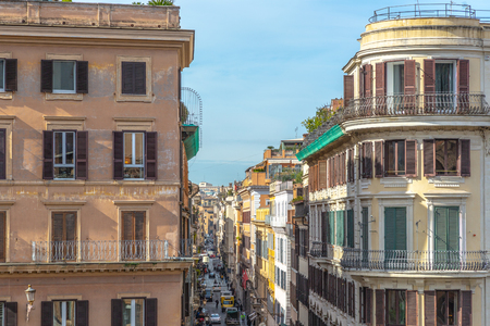 Narrow Rome street view from above, Italy