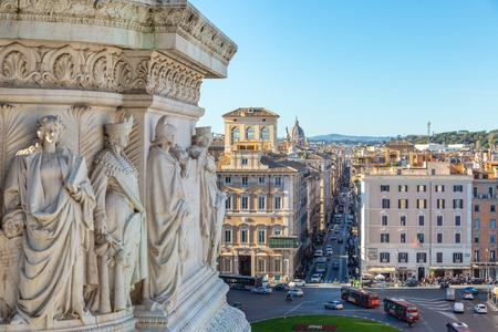 Narrow Rome street view from Altar of the Fatherland, Italy Stok Fotoğraf