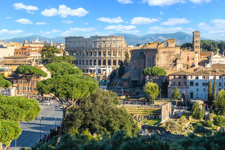 Scenic shot of Rome with Colosseum and Roman Forum, Italy.