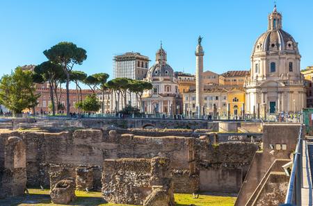 Trajans Column and churches, Rome, Italy
