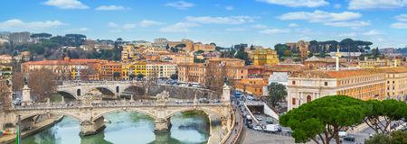 Panorama of Rome and Basilica of St. Peter Stok Fotoğraf