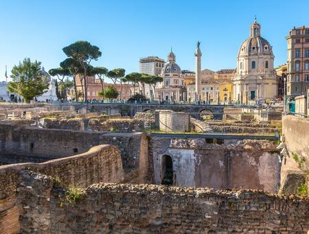 Trajans Column and Santa Maria di Loreto church, Rome, Italy Stok Fotoğraf