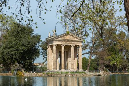 Temple of Aesculapius in Villa Borghese Stok Fotoğraf