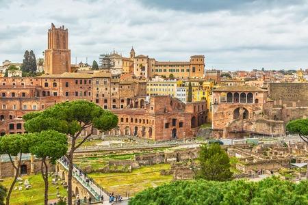 Scenic shot of Rome with Roman Forum, Italy. Stok Fotoğraf