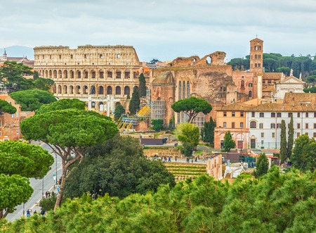 Scenic shot of Rome with Colosseum and Roman Forum, Italy. Stok Fotoğraf - 120508679