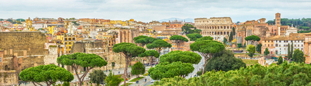 Scenic shot of Rome with Colosseum and Roman Forum, Italy. Stok Fotoğraf - 120508680