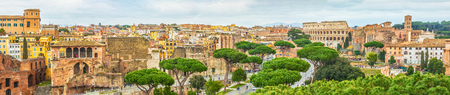 Scenic shot of Rome with Colosseum and Roman Forum, Italy. Stok Fotoğraf - 120508681