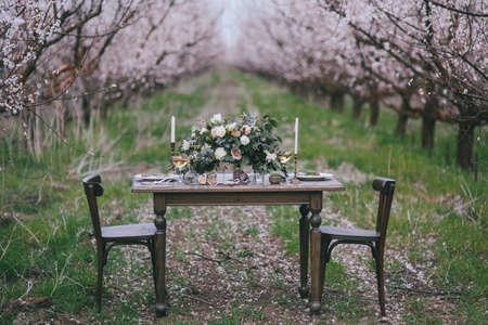 Decoratieve ceremoniële tafel in de Victoriaanse stijl in abrikozentuin. Een bruiloft in de lentetuin. Het effect van filmfotografie