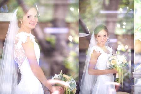 looking through window: Beautiful bride looking through window glass
