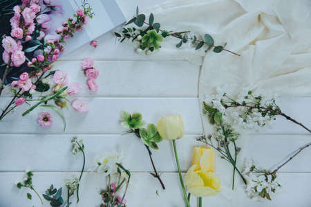 gentle flowers. different types of flowers during bouquet preparation. flat-lay Archivio Fotografico