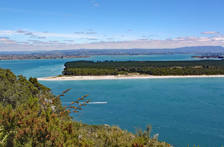 The turquoise sea that surrounds Mount Maunganui in North Island, New Zealand.
