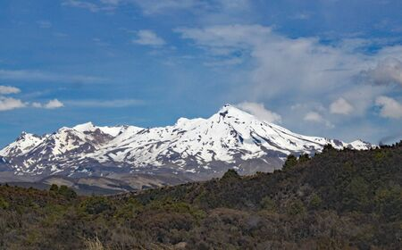 Panoramic view of Mount Ngauruhoe in Tongariro National Park. It featured as Mount doom in the Lord of the Rings films Stock Photo