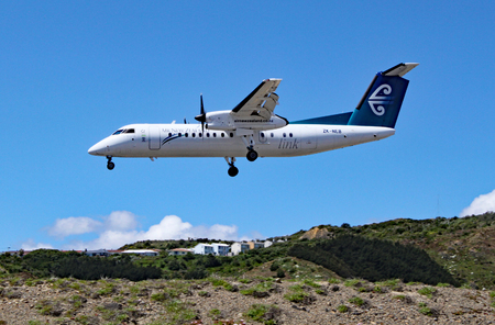 An Air New Zealand De Havilland Canada Dash 8 comes in to land at Wellington airport, New Zealand