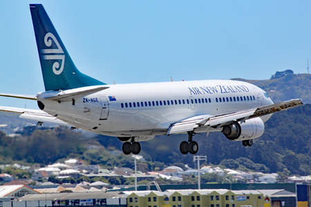 An Air New Zealand Boeing 737-3U3 comes in to land at Wellington airport, New Zealand. This aircraft has subsequently left the fleet.