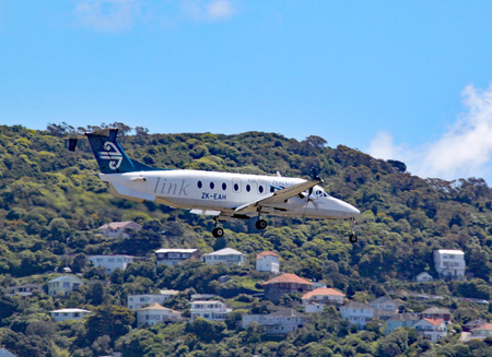 An Air New Zealand Beechcraft 1900D comes in to land at Wellington airport, New Zealand