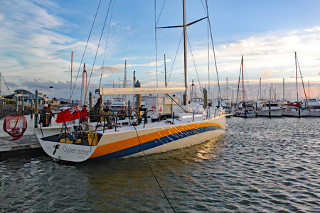 Newly built racing yacht Oystercatcher XXVIII arrives in the evening at Tauranga marina for shipping to the United States.