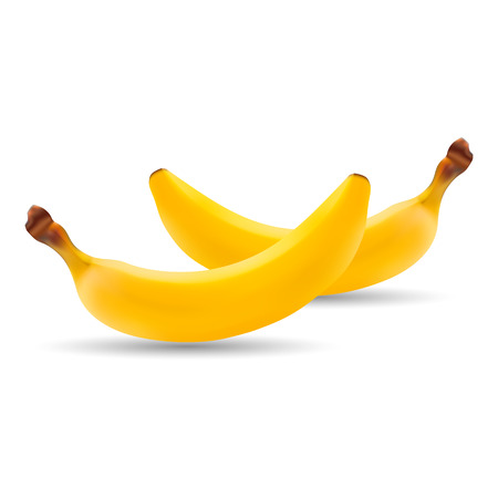 Set Of Natural Fresh Banana. Healthy Organic Fruit Isolated On A White Background.