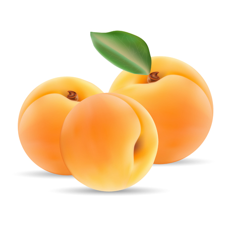 tangerine: Group Of Ripe Apricot With Leaves Isolated On A White Background.