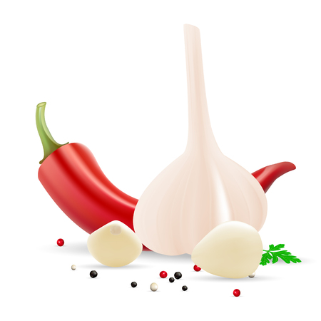 Garlic And Cloves Of Garlic With Parsley, Chili Pepper And Spice Isolated On A White Background. Illustration