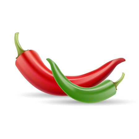 capsaicin: Red Chilli Pepper. Healthy Organic Food Isolated On A White Background.