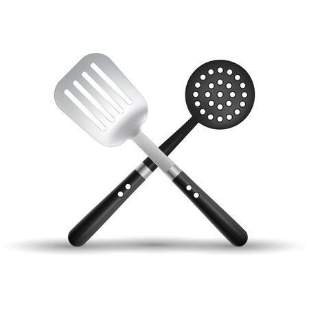 Kitchen Spatula And Skimmer Isolated On A White Background.
