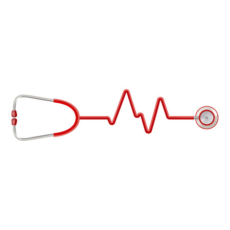 stress test: Stethoscope In The Shape Of A Heart Beat On A Ekg Isolated On A White Background. Realistic Vector Illustration.