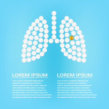 Human Lungs With Pills Isolated On A Background Realistic Vector Illustration. Medical concept created by pills. Stock Photo