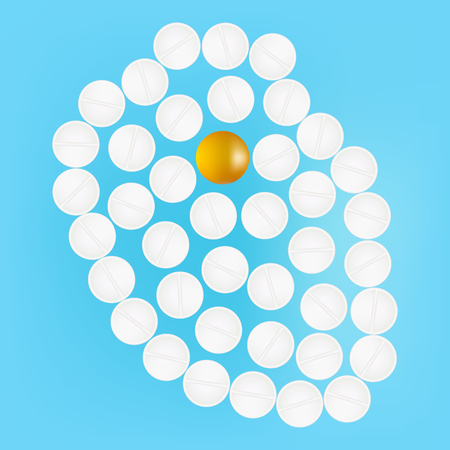Human Heart With Medicines Isolated On A Background Vector Illustration. Illustration