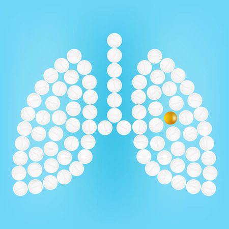 Human Lungs With Medicines Isolated On A Background Realistic Vector Illustration.