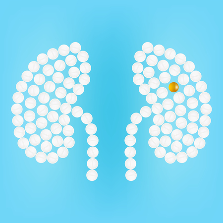 Human Kidney With Medicines Isolated On A Background Vector Illustration.