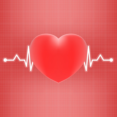 Heart And Heart Beat On Ekg Isolated On A Background. Realistic Vector Illustration. Medicine Illustration