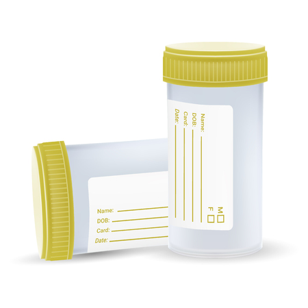 The Sterile Plastic Container For Medical Analyzes Isolated On A White Background. Realistic Vector Illustration. Medicine