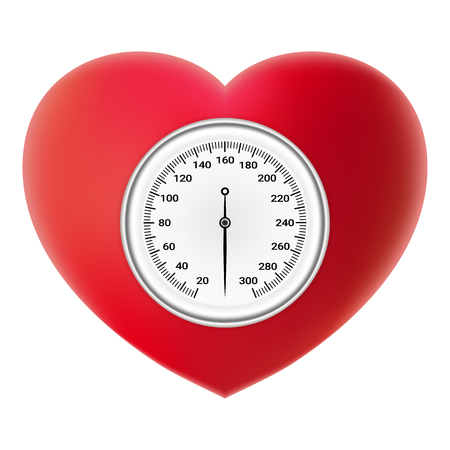 heart disease: Arterial Blood Pressure Checking Concept. Tonometer On Red Heart Isolated On A White Background. Realistic Vector Illustration.