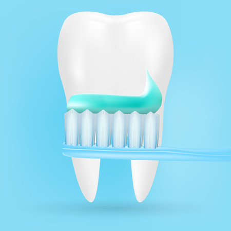 Realistic Tooth And Toothbrush Poster Stomatology Icon Isolated On A Background. Realistic Vector Illustration. Illustration