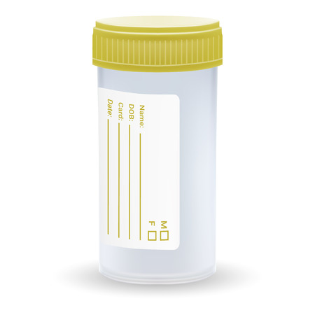 Sterile Plastic Medical Container. Blank Template Of Clear Empty Transparent Jar For Urine Or Liquid For Laboratory Analysis Isolated On A White Background. Realistic Vector Illustration.