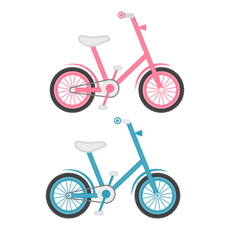 competitions: Set Of Two Kids Bicycles Isolated On A White Background. Vector.