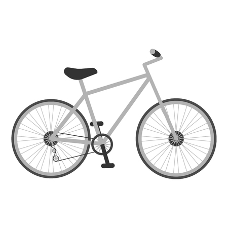 Grey Bicycle For Kids Isolated On A White Background. Illustration