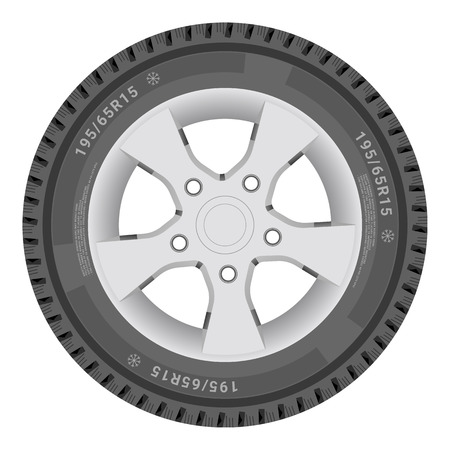 shiny car: Car Wheel, Cartire Isolated On A White Background. Illustration.