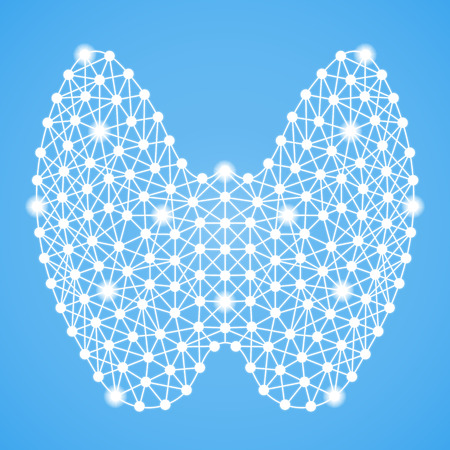 Human Thyroid Isolated On A Blue Background. Vector Illustration.Endocrinology. Creative Medical Concept Stock Illustratie
