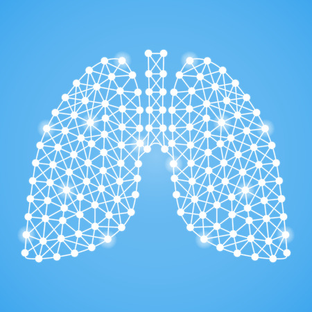 Human Lungs Isolated On A Blue Background. Vector Illustration.Pulmonology. Creative Medical Concept Vettoriali