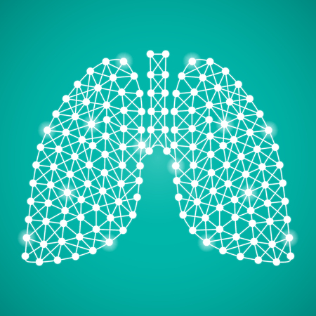 Human Lungs Isolated On A Green Background. Vector Illustration.Pulmonology. Creative Medical Concept Illustration