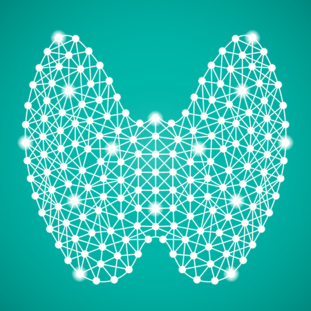 secretion: Human Thyroid Isolated On A Green Background. Vector Illustration.Endocrinology. Creative Medical Concept