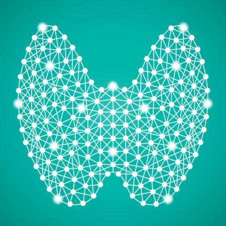 Menschliche Schilddrüse lokalisiert auf einem grünen Hintergrund. Vektor-Illustration. Endokrinologie. Kreatives medizinisches Konzept Vektorgrafik