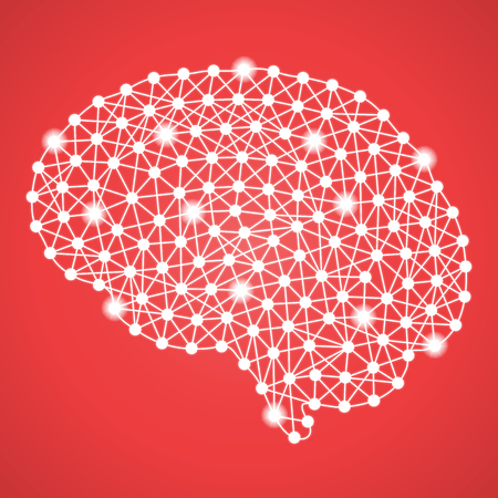 Human Brain Isolated On A Red Background. Vector Illustration.Neurology. Creative Medical Concept Stock Photo